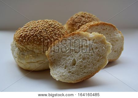 appetizing bun with sesame seeds for sandwiches