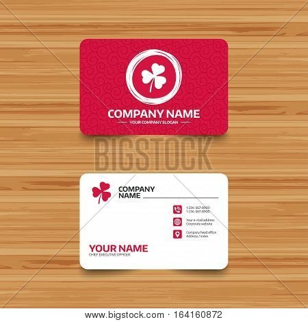 Business card template with texture. Clover with three leaves sign icon. Trifoliate clover. Saint Patrick trefoil symbol. Phone, web and location icons. Visiting card  Vector