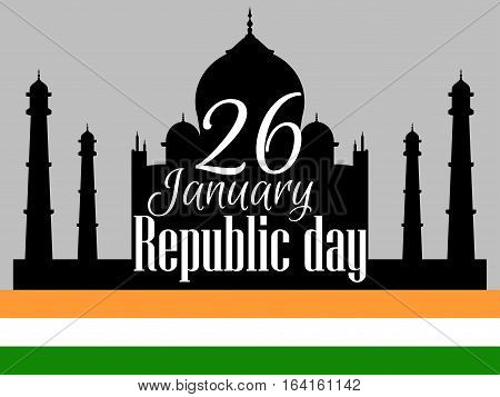 Indian Republic Day, Holiday January 26. Taj Mahal With Flag. Vector Illustration.