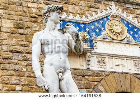 Statue of David in the Piazza della Signoria near Palazzo Vecchio. Florence, Italy.