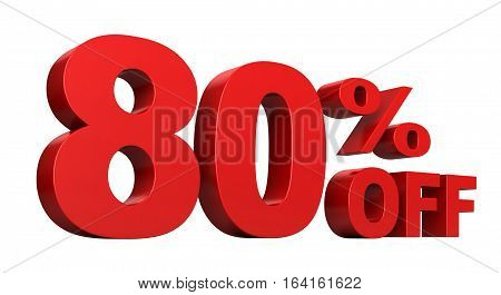3d render of 80 percent off sale text isolated over white background