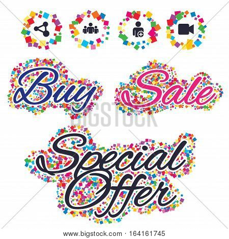 Sale confetti labels and banners. Group of people and share icons. Add user and video camera symbols. Communication signs. Special offer sticker. Vector
