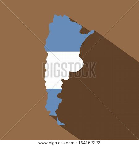 Map of Argentina in Argentinian flag colors icon. Flat illustration of map of Argentina in Argentinian flag colors vector icon for web isolated on coffee background