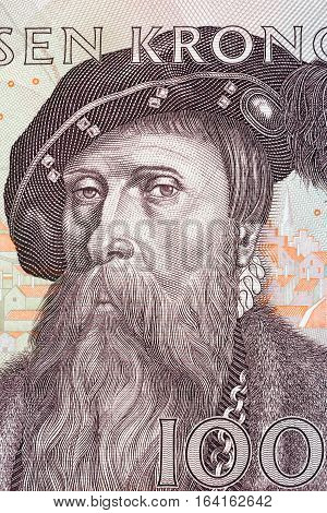 Gustav I Vasa king of Sweden, portrait from Swedish money