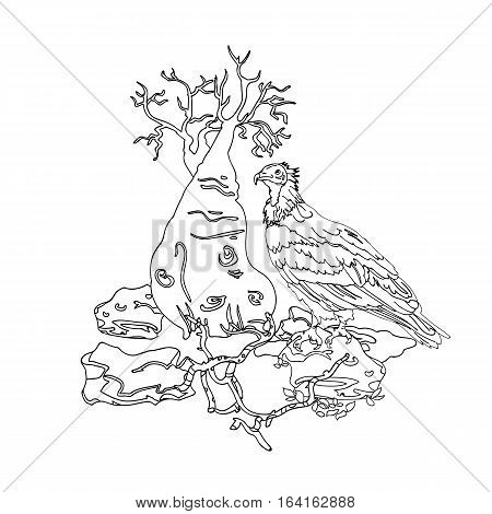 Printmaking for painting in color or tattoo vintage engraving for color, black and white coloring pages for adults