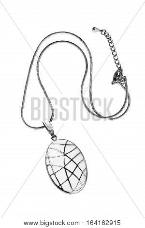 White enameled medallion on silver chain isolated over white