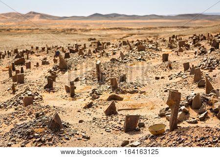 Berber Old Cemetery On The Edge Of Sahara Desert In Morocco.