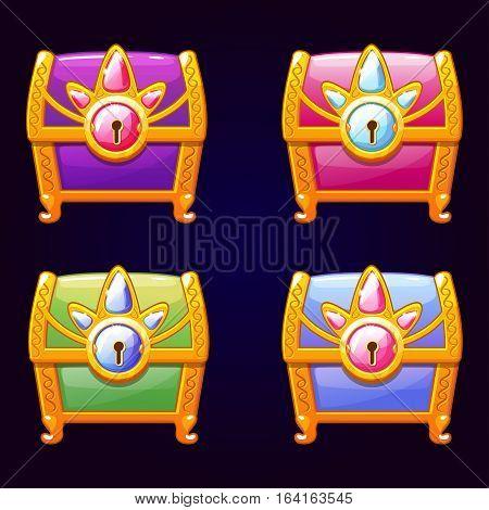 Cute fantasy decorative treasure chest Colored closed box. Beautiful girlish box in vector