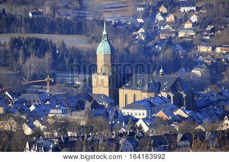 view to st. annenkirche in annaberg buchholz