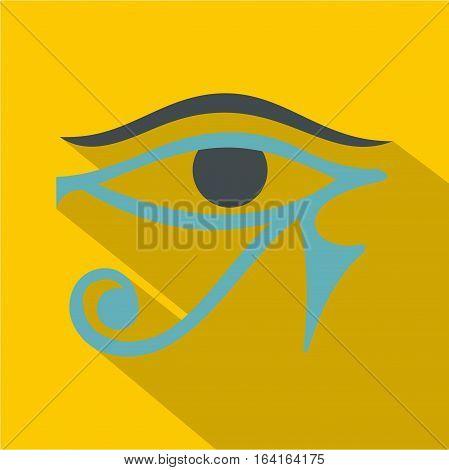 Eye of Horus icon. Flat illustration of eye of Horus vector icon for web isolated on yellow background