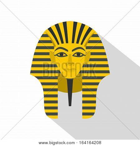 Egyptian golden pharaohs mask icon. Flat illustration of egyptian golden pharaohs mask vector icon for web isolated on white background