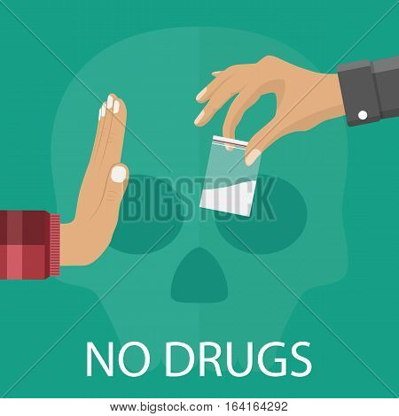 No drugs concept. Reject drugs offer. Hand saying NO. Vector illustration in flat style