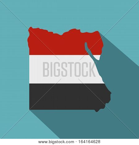 Map of Egypt in Egyptian flag colors icon. Flat illustration of map of Egypt in Egyptian flag colors vector icon for web isolated on baby blue background