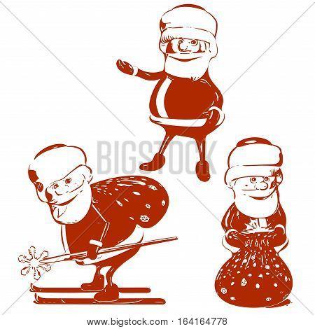 Illustration Three red Santa Claus in Various Poses