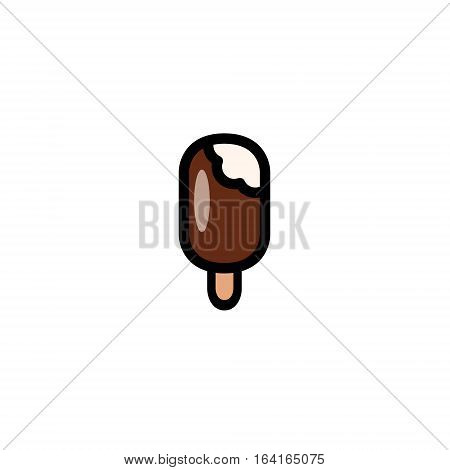 Glossy ice cream pop icon isolated on whit