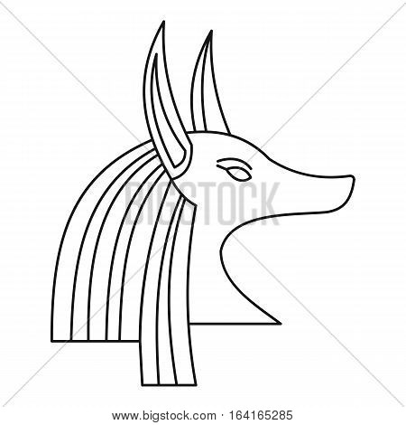 Head of egyptian god Anubis icon. Outline illustration of head of egyptian god Anubis vector icon for web