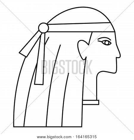 Egyptian style woman icon. Outline illustration of egyptian style woman vector icon for web