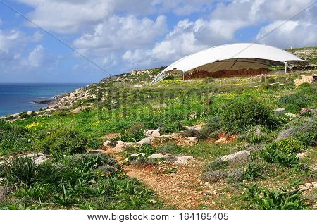 Megalitic temple complex - Hagar Qim - archeological exacavations in Malta
