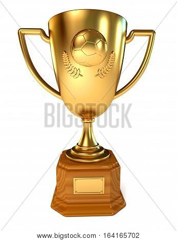 Gold Cup soccer winner. Conceptual illustration. Isolated on white background. 3D illustration. 3D rendering