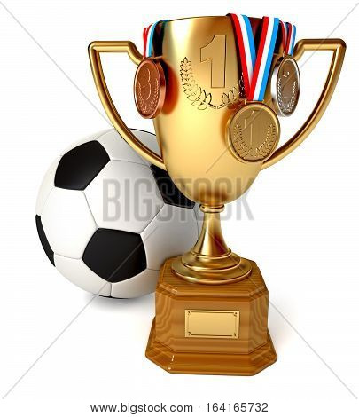 Gold Cup with medals and soccer ball. Conceptual illustration. Isolated on white background. 3D illustration. 3D rendering