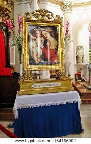 San Marino San Marino - November 06 2016: Icon Mater Misericordiae. Altar of the Basilica Pieve Santo San Marino