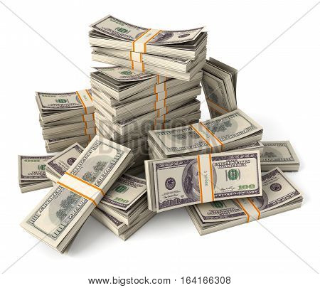 Stack of dollars. Conceptual illustration. Isolated on white background. 3D illustration. 3D rendering