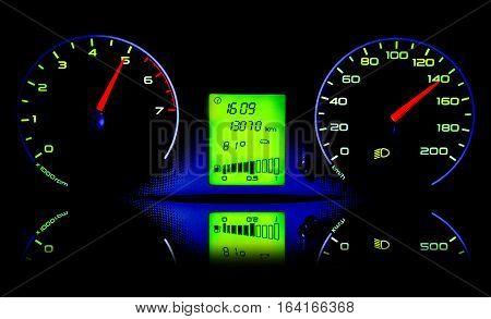 The dashboard of the car with reflection