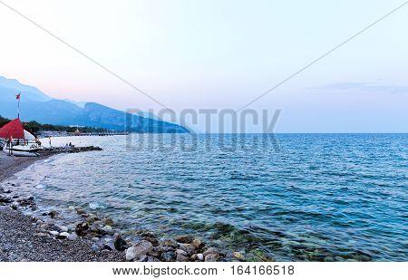 Kemer seaside. Early morning. View of Mediterranean coast Antalya Turkey
