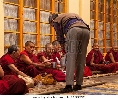 DHARAMSALA, INDIA. 2 Jun 2009: Daily lifestyle of the monks in a Buddhist monastery. Traditional Tibetan tea, prayer. Residence of His Holiness the Dalai Lama XIV. McLeod Ganj, Western Himalayas, Himachal Pradesh, district of Kangra.