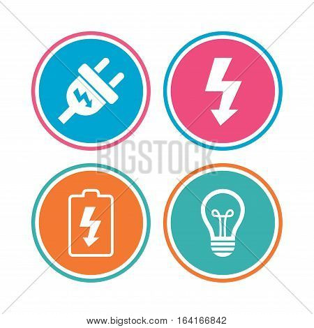 Electric plug icon. Lamp bulb and battery symbols. Low electricity and idea signs. Colored circle buttons. Vector
