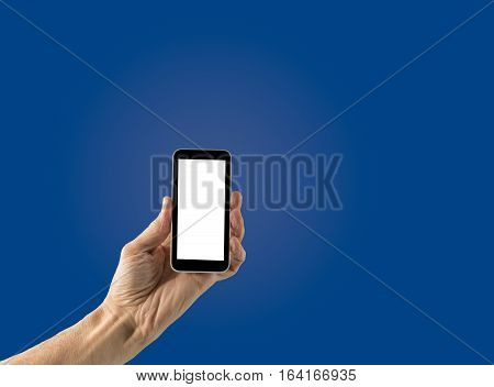 Image of male hand holding smartphone with screen isolated ready for insertion of your application or screenshot against blue gradient background