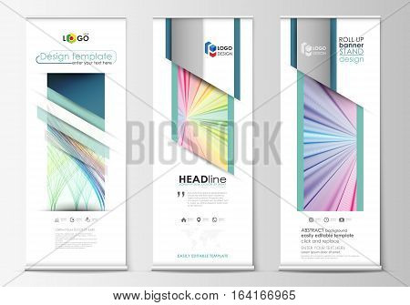 Set of roll up banner stands, geometric flat style templates, business concept, corporate vertical vector flyers, flag layout. Colorful background with abstract waves, lines. Bright color curves. Motion design