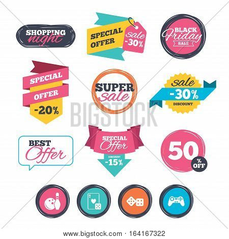 Sale stickers, online shopping. Bowling and Casino icons. Video game joystick and playing card with dice symbols. Entertainment signs. Website badges. Black friday. Vector