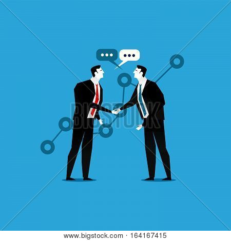 Online business deal. Business deal handshake. Cooperation or partnership. Business people