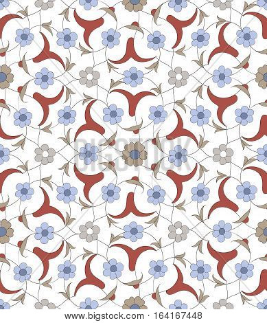 Traditional  Arabic ornament seamless for your design.  . Floral Ornamental pattern. Iznik .Vector.  Background