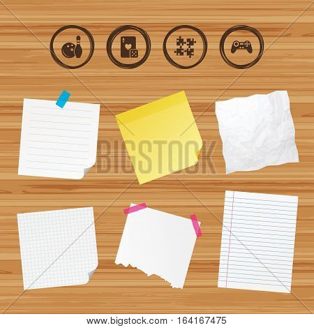Business paper banners with notes. Bowling and Casino icons. Video game joystick and playing card with puzzles pieces symbols. Entertainment signs. Sticky colorful tape. Vector