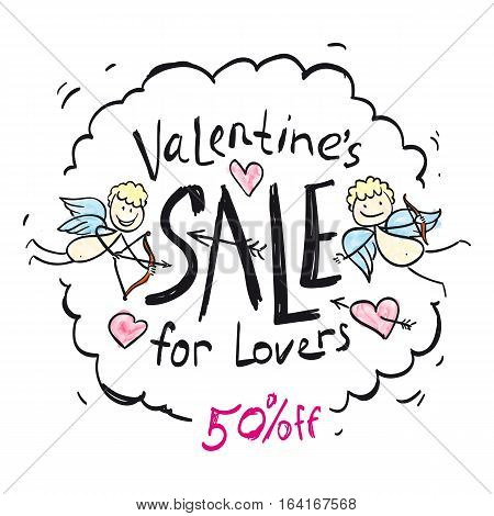 Vector picture with cupids, angels, hearts. Illustration of love, romantic theme, the picture for the poster showcases selling Valentine's Day, Valentine's Day, a special offer, a percentage of the sale.