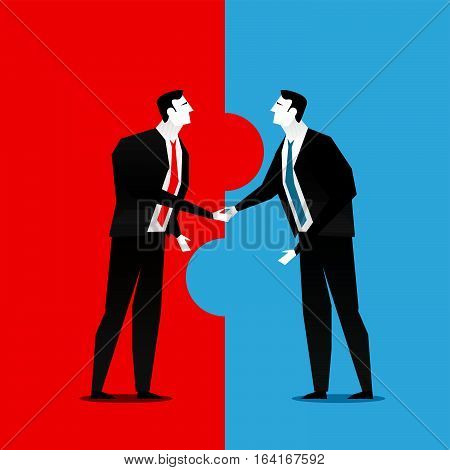 Cooperation or partnership in business. Business deal handshake.