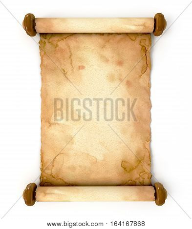 Old paper sheet. Unfurled an ancient scroll. Conceptual illustration. Isolated on white background. 3D illustration. 3D rendering