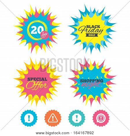 Shopping night, black friday stickers. Attention icons. Exclamation speech bubble symbols. Caution signs. Special offer. Vector