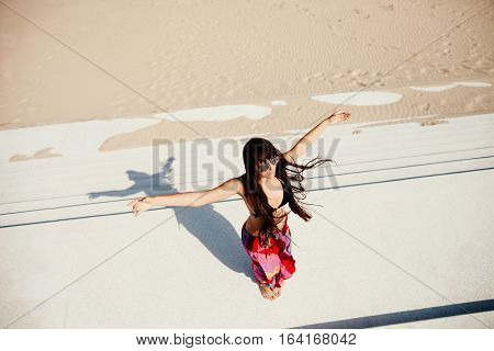 Sexy Long Hair Woman Relax On Beach