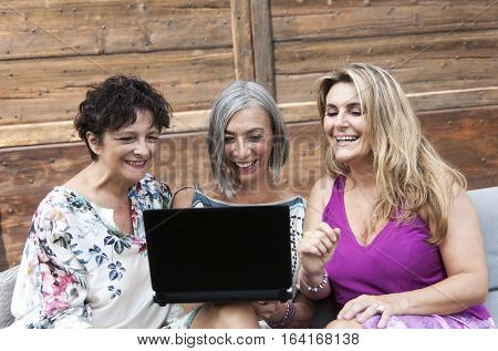 Beautiful Ladies Smile Looking At Something On The Laptop