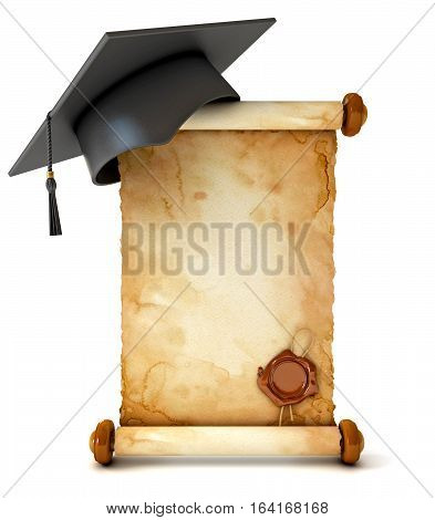 Graduation cap and diploma. Unfurled an ancient scroll with wax seal. Conceptual illustration. Isolated on white background. 3D illustration. 3D rendering