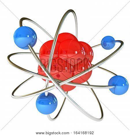 Model of the atom. Isolated on white background. 3D illustration. 3D rendering