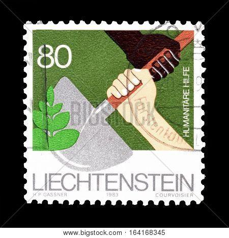 LIECHTENSTEIN - CIRCA 1983 : Cancelled postage stamp printed by Liechtenstein, that shows Humanitarian aid.