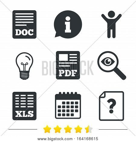 File document and question icons. XLS, PDF and DOC file symbols. Download or save doc signs. Information, light bulb and calendar icons. Investigate magnifier. Vector