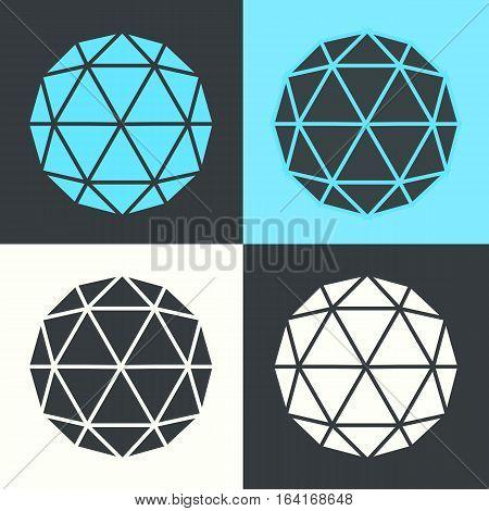 Vector Polyhedron Hexagon Ball Flat Design Set Illustration