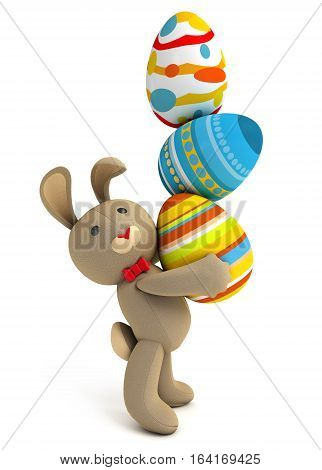 Happy Easter. Cute funny toy bunny holding in the paws a lot of Easter eggs. Isolated on white background. 3D illustration. 3D rendering