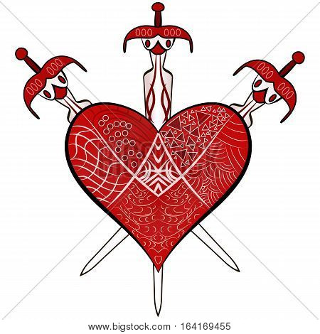 Red Valentines Day detailed ornaments heart and three swords vector illustration in Zen-tangle style