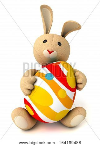 Cute funny toy bunny holding in the paws of a large Easter egg. Isolated on white background. 3D illustration. 3D rendering